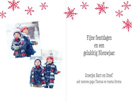 Kerstkaart - Rood met witte sneeuwvlokken