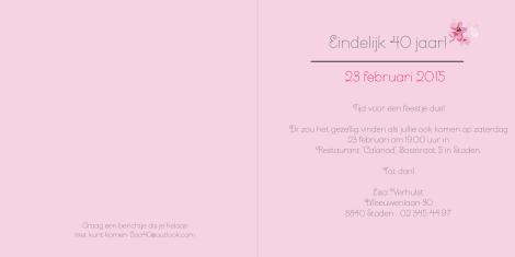 Roze bloementakje - Verjaardagsuitnodiging