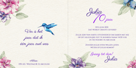 Uitnodiging - Kolibri en bloemen